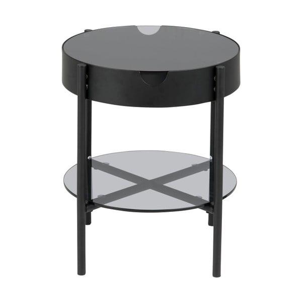Černý odkládací stolek s úložným prostorem Actona Tipton, ⌀45 cm