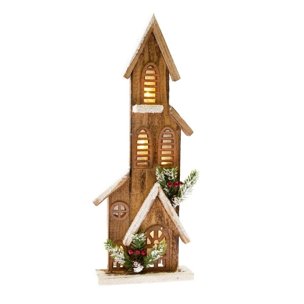 Dřevěná dekorace ve tvaru domečku se světlem Dakls