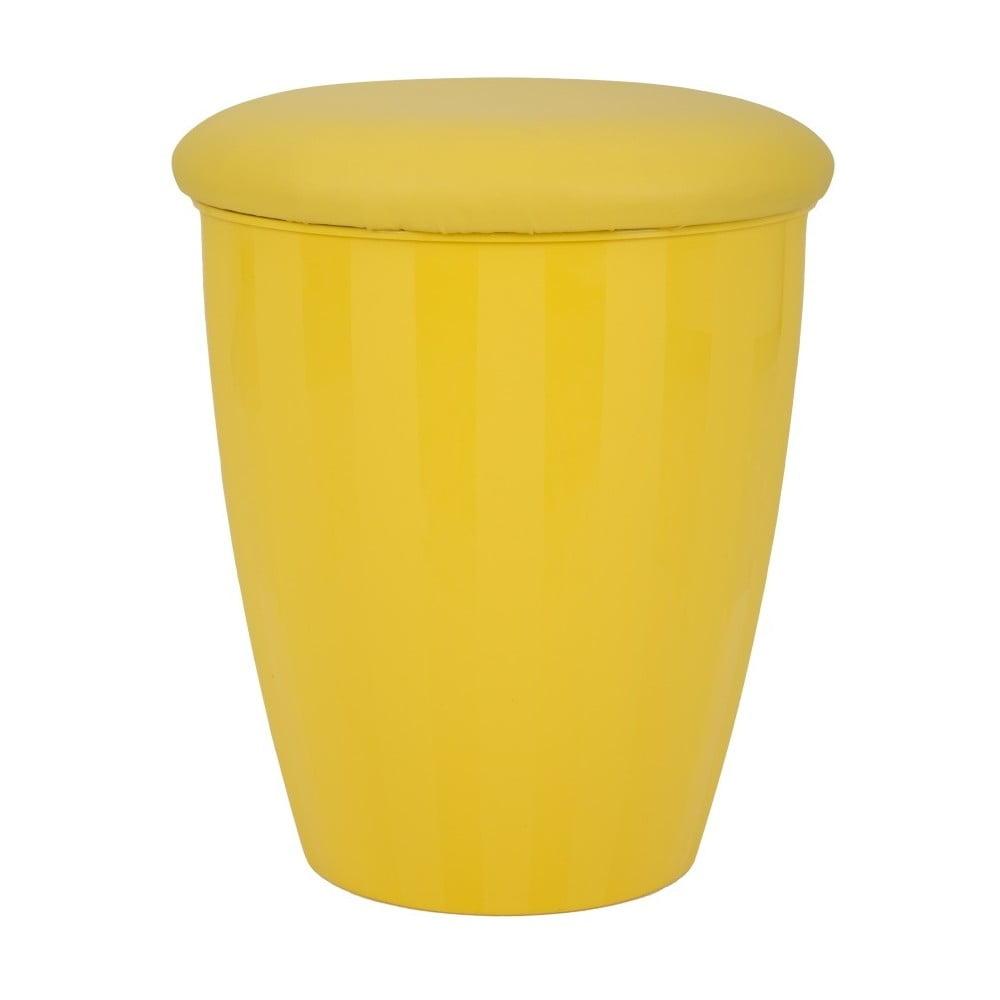 Žlutá stolička s úložným prostorem Mauro Ferretti Easy, ⌀38cm