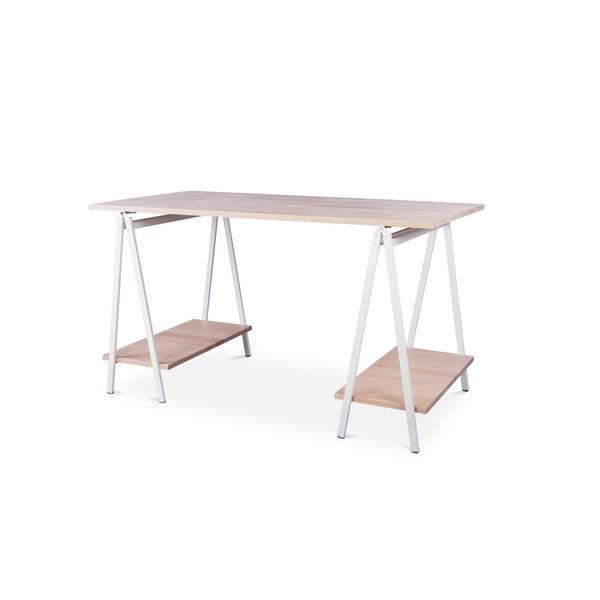 Psací stůl s deskou z bukového dřeva a bílými detaily Nørdifra Ashape