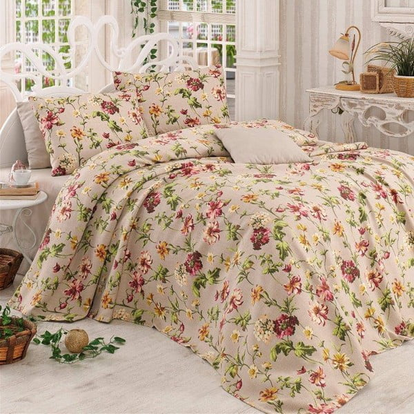 Sada přehozu přes postel, prostěradla a 2 polštářů Miranda Beige, 200x230 cm