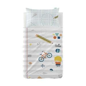 Set prostěradla a povlaku na polštář z čisté bavlny Happynois Notebook, 100 x 130 cm