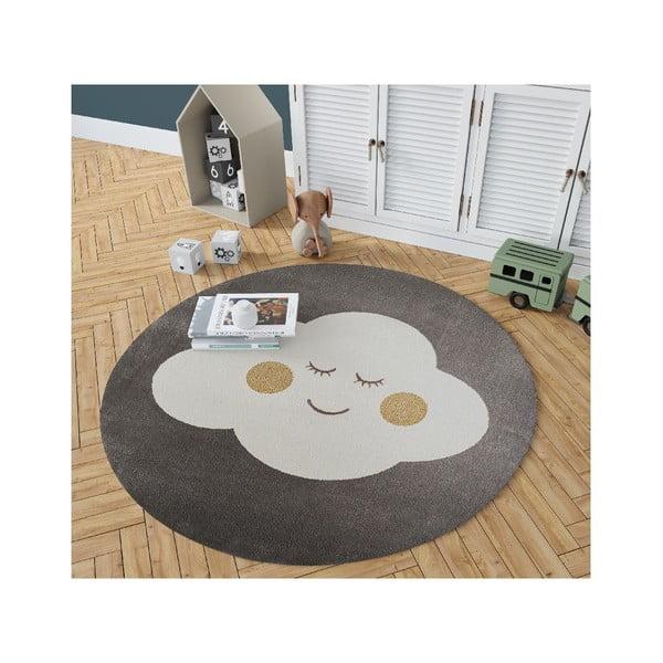 Šedý kulatý koberec s motivem mraku KICOTI Grey, ø 80 cm