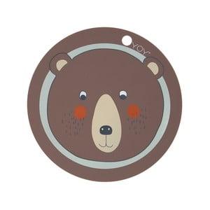 Dětské silikonové prostírání OYOY Bear, ⌀ 39 cm