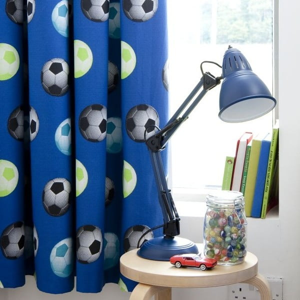 Sada 2 modrých závěsů Catherine Lansfield Football, 168x183cm