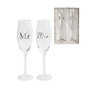 Sada 2 sklenic na šampaňské Amore Mr. and Mrs., 180ml