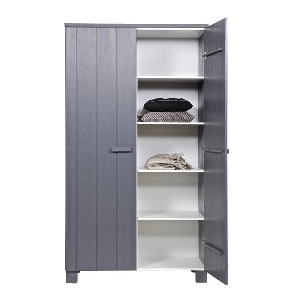Dvoukřídlá skříň Dennis, ocelově šedá