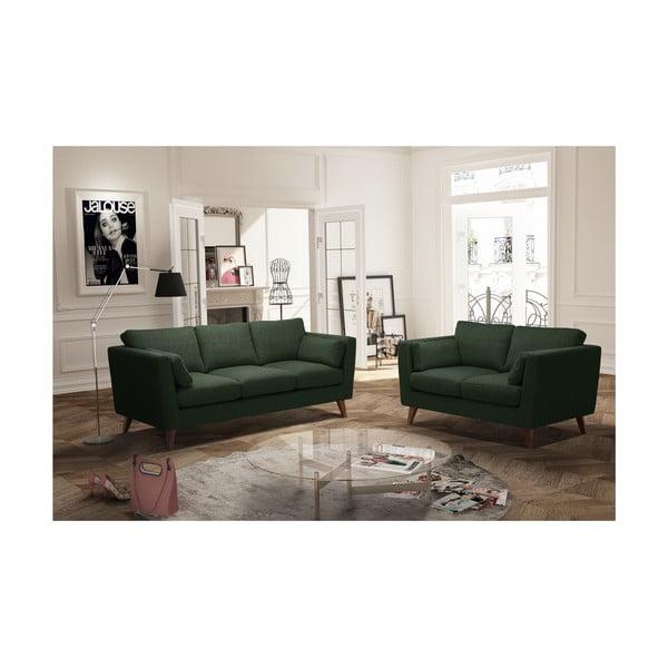 Sada tmavě zelené dvoumístné a trojmístné pohovky Jalouse Maison Elisa
