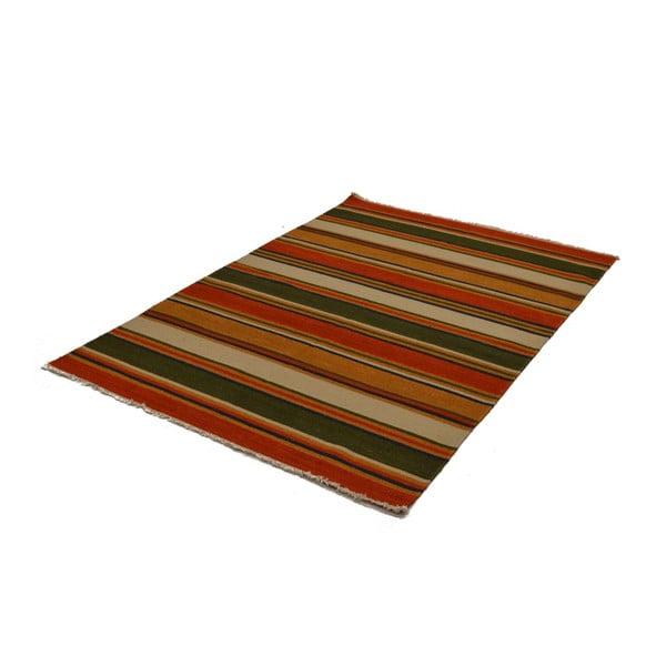Ručně tkaný koberec Green Orange Stripes, 140x200 cm