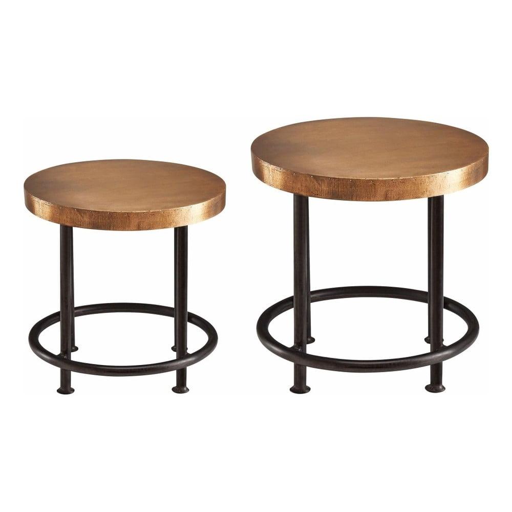 Sada 2 černých odkládacích stolků s dřevěnými deskami Støraa Nayana