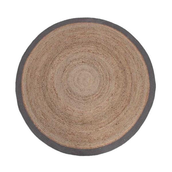 Covor de iută cu margine gri LABEL51 Rug, Ø 150 cm