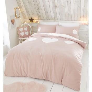 Lenjerie de pat din fleece Catherine Lansfield Heart, 135 x 200 cm, roz