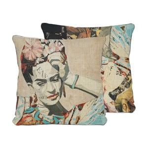 Oboustranný polštář Madre Selva Frida Collage Blue, 45x45cm