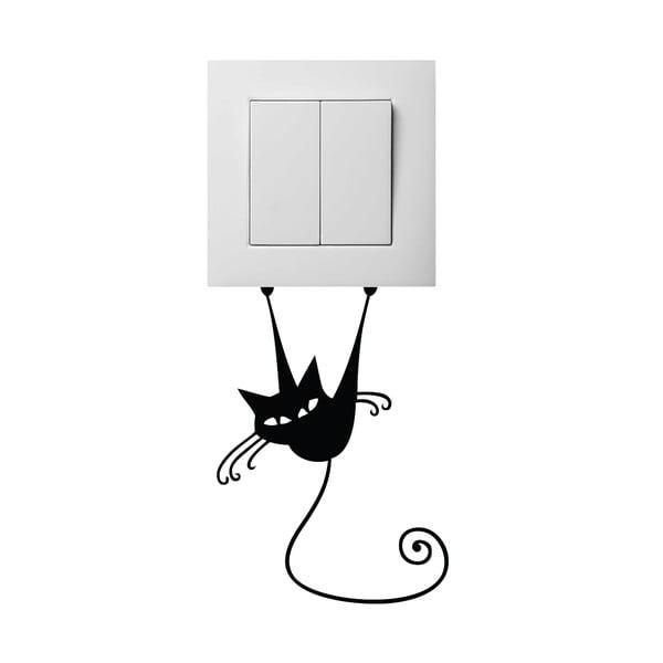 Černá samolepka na vypínač Ambiance Acrobat Cat