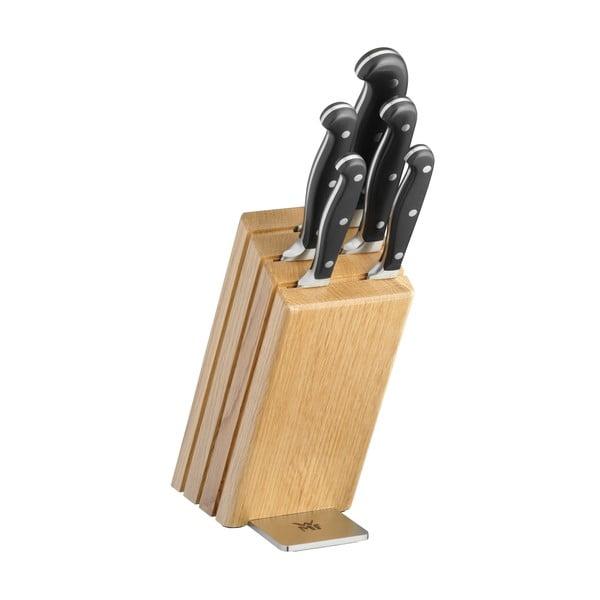 Set 6 cuțite cu bloc din lemn de stejar WMF