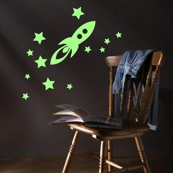 Svietiaca samolepka Ambiance Rocket And Stars