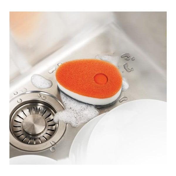Sada 3 oranžových houbiček s dávkovačem saponátu Joseph Joseph Soapy Sponge