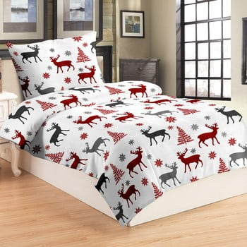 Lenjerie de pat din micropluș My House Deer, 140 x 200 cm, roșu