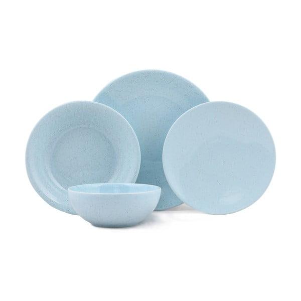 24-częściowy zestaw niebieskich talerzy z porcelany Kutahya Fantine
