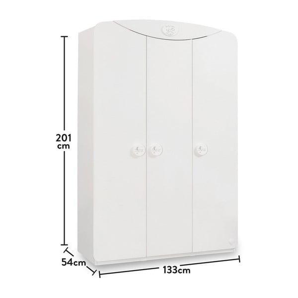 Bílá šatní skříň Baby Cotton SI 3 Doors Wardrobe