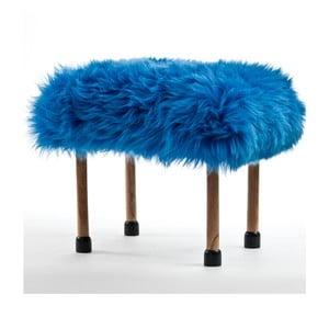 Stolička z ovčí kůže Nerys Cornflower Blue