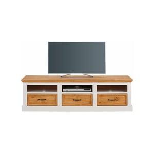 Bílý TV stolek z masivního borovicového dřeva Støraa Suzie