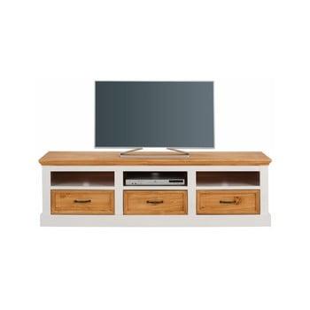 Comodă TV din lemn de pin cu 3 sertare Støraa Suzie, alb-maro de la Støraa