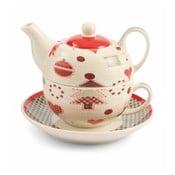 Ceainic cu ceașcă și farfurioară din porțelan Villa d'Este Patchwork Tea For One
