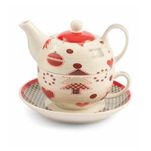 Čajová konvice s hrnkem a podšálkem z kostního porcelánu Villa d'Este Patchwork Tea For One