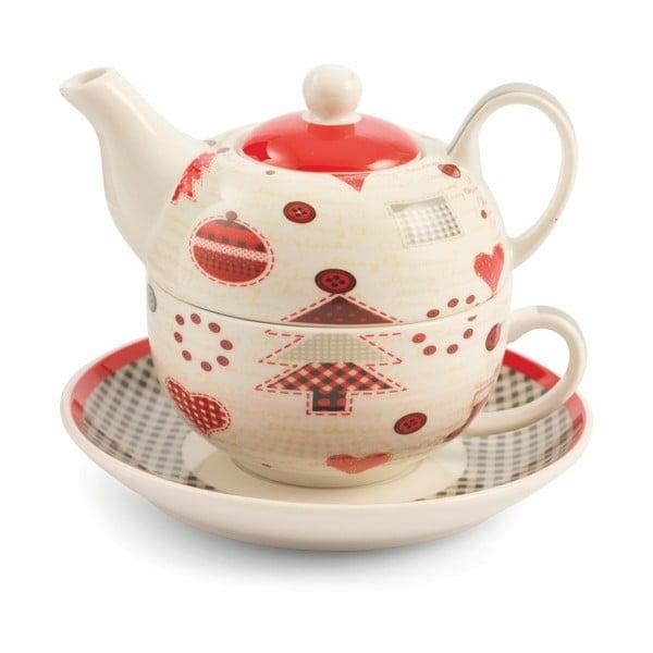 Patchwork Tea For One csontporcelán teáskanna csészével - Villa d'Este
