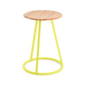 Stolička s dubovou deskou a žlutou kovovou konstrukcí HARTÔ Gustave, výška 45cm