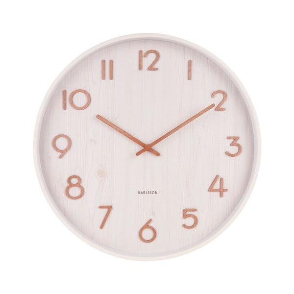 Bílé nástěnné hodiny z lipového dřeva Karlsson Pure Medium, ø 40cm