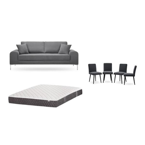 Set canapea gri închis cu 3 locuri, 4 scaune gri antracit, o saltea 160 x 200 cm Home Essentials