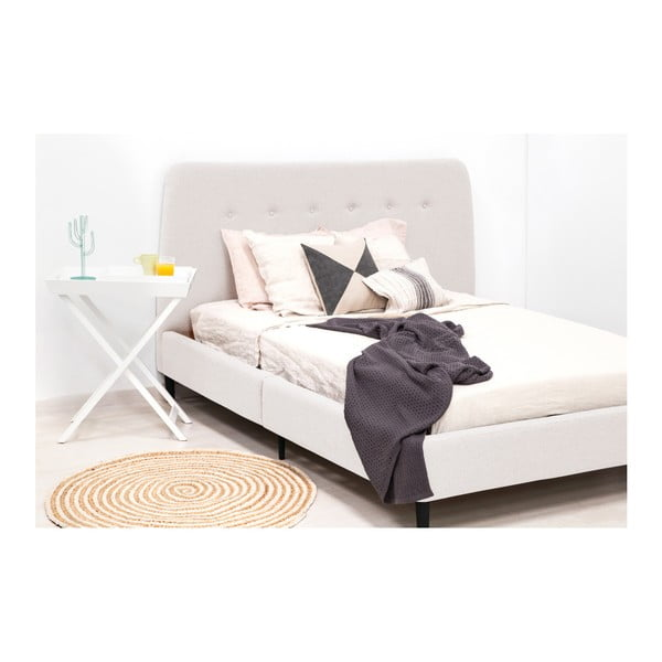 Světle šedá dvoulůžková postel s černými nohami Vivonita Mae King Size, 180 x 200 cm