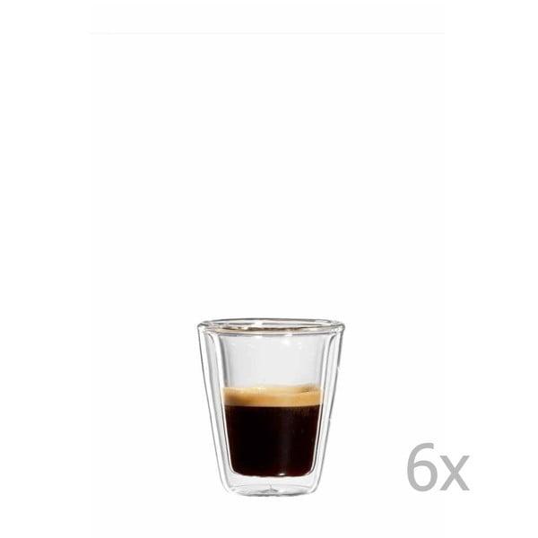 Sada 6 skleněných hrnků na espresso bloomix Milano