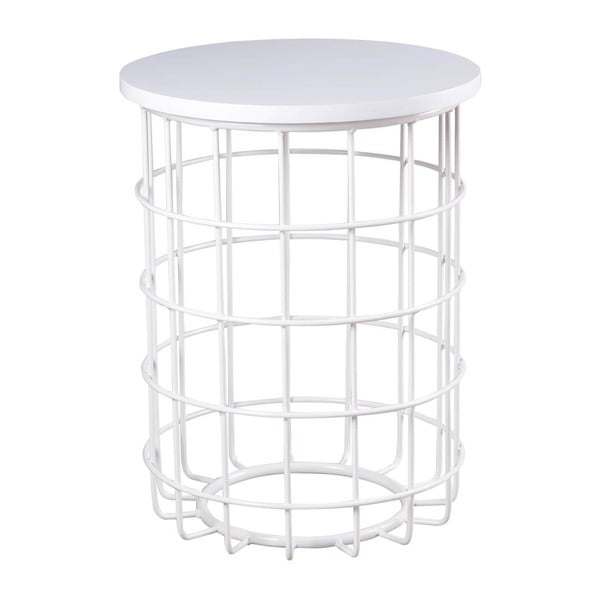 Bílý odkládací stolek sømcasa Elmo