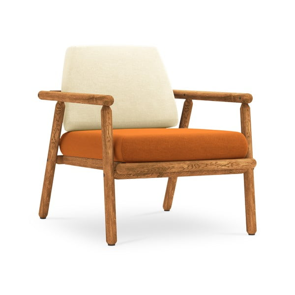 Fotoliu pentru exterior, construcție lemn masiv de salcâm Calme Jardin Capri, bej - portocaliu