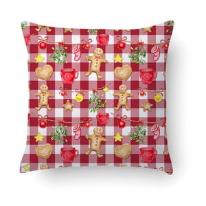 Červený polštář Crido Consulting Gingerbread & Lights, 40 x 40 cm