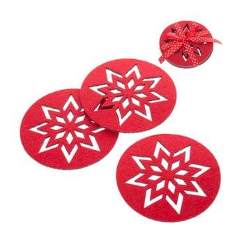 Set 4 suporturi pentru pahare Crăciun Unimasa Snowflake, roșu imagine