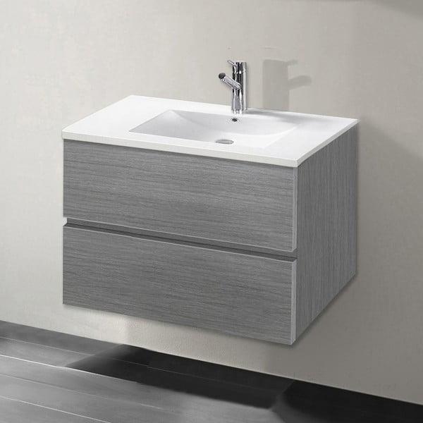 Koupelnová skříňka s umyvadlem a zrcadlem Flopy, odstín šedé, 70 cm