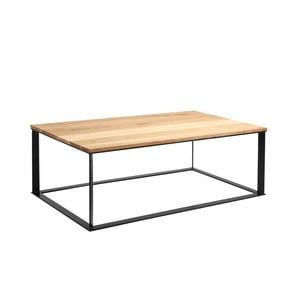 Konferenční stolek s černým podnožím a deskou z masivního dubu Custom Form Skaden, šířka140cm