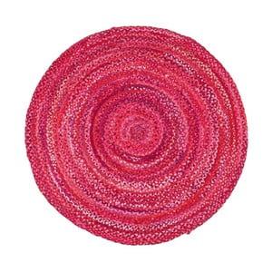 Růžový bavlněný kruhový koberec Eco Rugs, Ø120cm