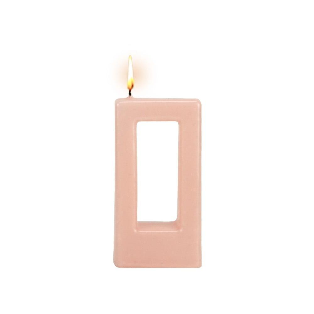 Růžová svíčka Alusi Quadra Una, 3 hodiny hoření