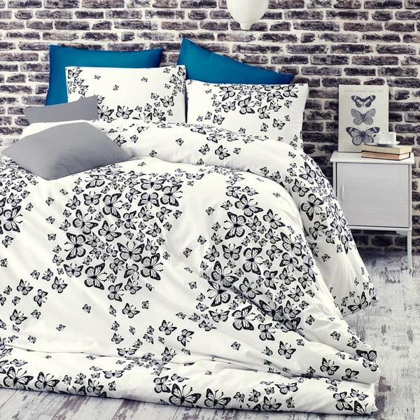 Lenjerie de pat cu cearșaf Butterfly Blue, 200 x 220 cm