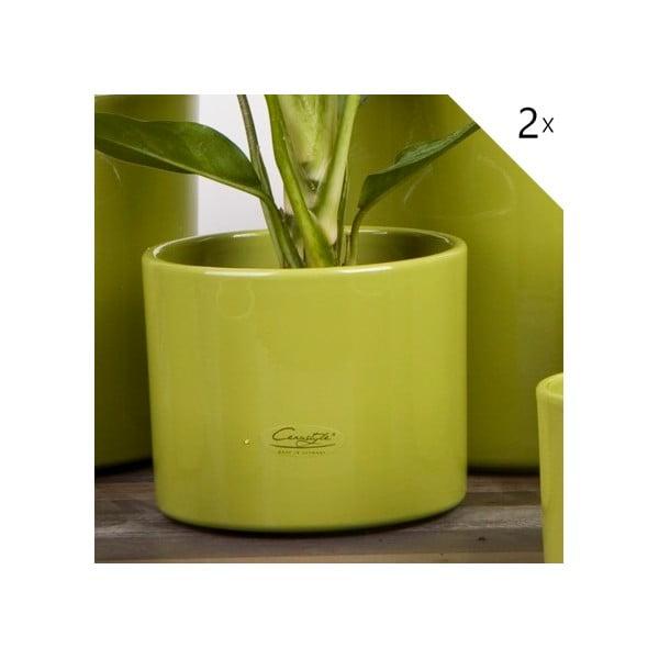 Sada 2 zelených květináčů Ovale, 13 cm