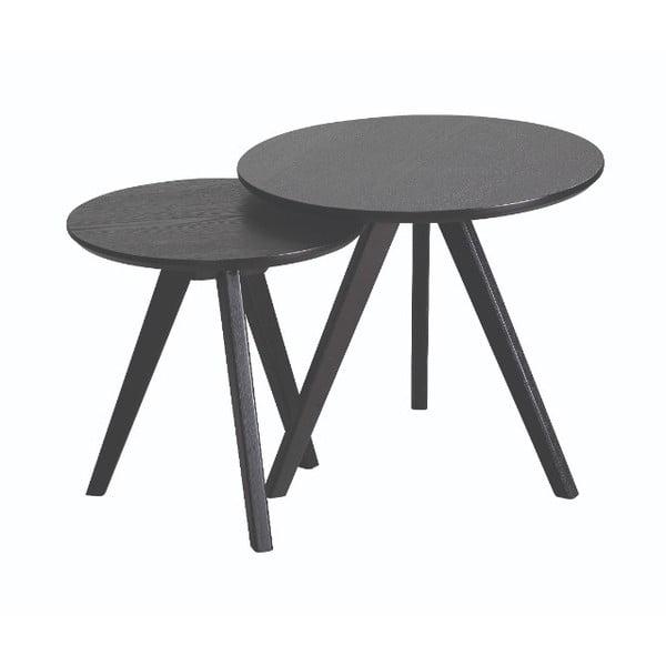 Yumi 2 darabos fekete, kőrisfa tárolóasztal készlet - Folke
