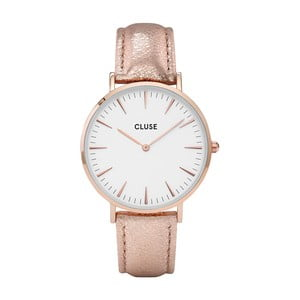 Ceas damă cu curea din piele si detalii roz - aurii Cluse La Bohéme, roz