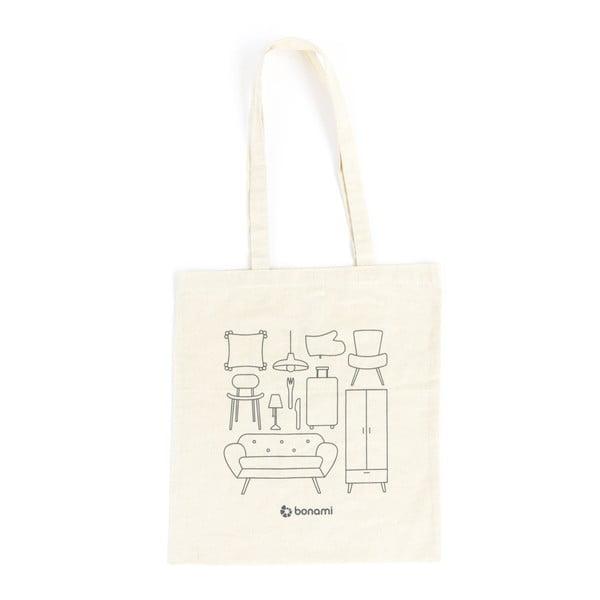 Krémovobiela plátenná taška Bonami