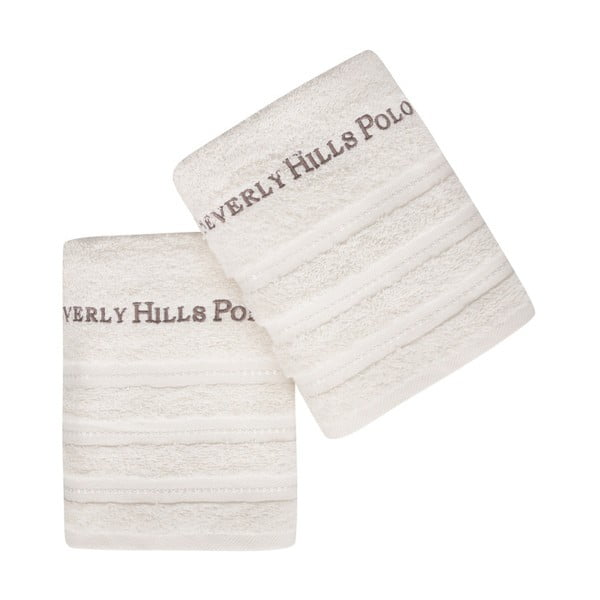 Sada 2 bílých ručníků z čisté bavlny Handy, 50 x 90 cm