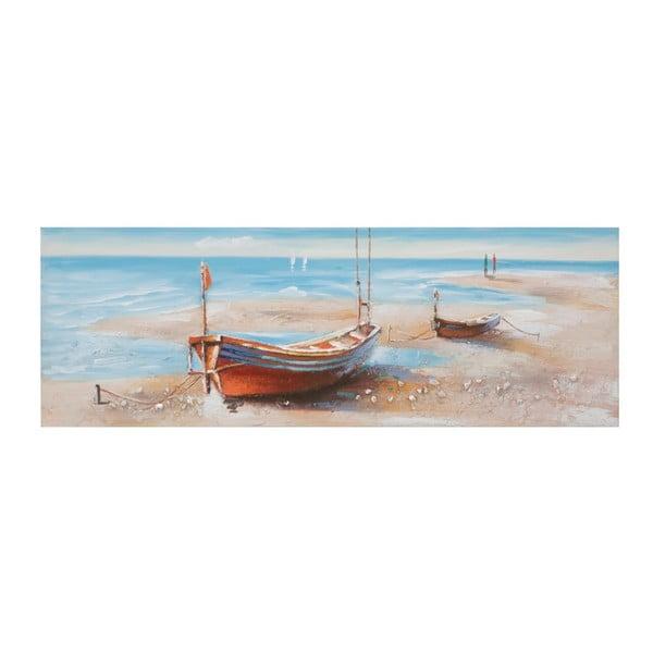 Ručně malovaný obraz v rámu z borovicového dřeva Mauro Ferretti Barca Group, 150 x 50 cm